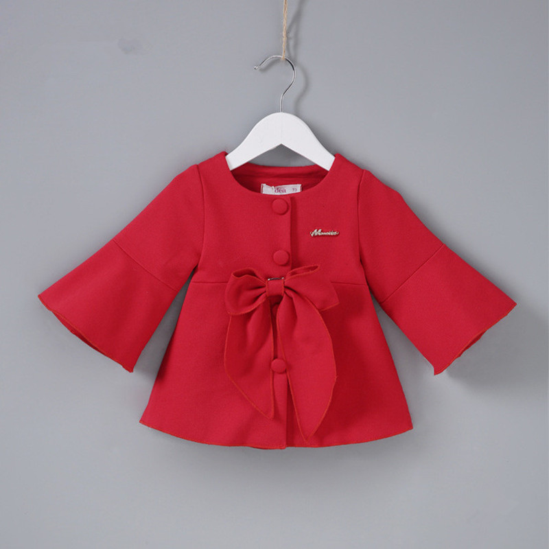 fashion girls trench coats jackets for girls clothing tops spring autumn kids christmas new years outerwear with big bow 0 2y - Christmas Jackets