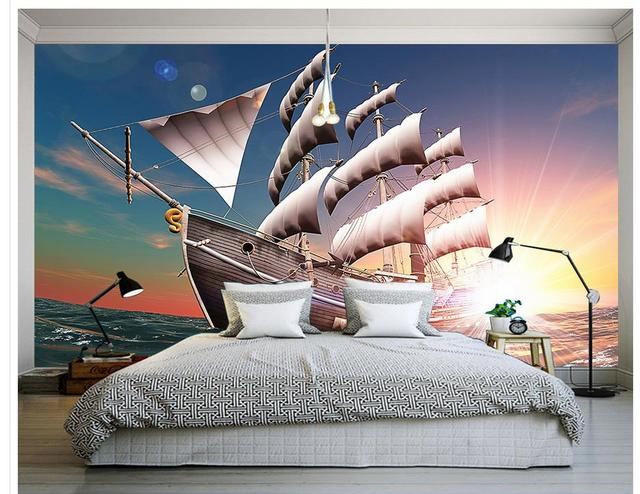 3d Customized Wallpaper Home Decoration Maritime Wooden Sailboat