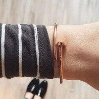 Mavis Hare браслет для ногтей из нержавеющей стали, очаровательный браслет, манжета, Открытый браслет для ногтей, высокое качество, как для женщи...