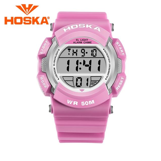 919e8e269cf 2017 Marca HOSKA das crianças dos miúdos estudante relógio de Quartzo  meninas relógios digitais relógio do