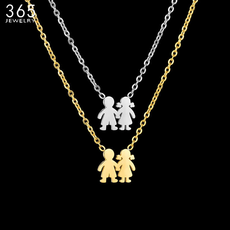 Fashion Stainless Steel Cute Boy Girl Necklaces For Women Hand In Hand Children Engrave Name Necklace Family Jewelry