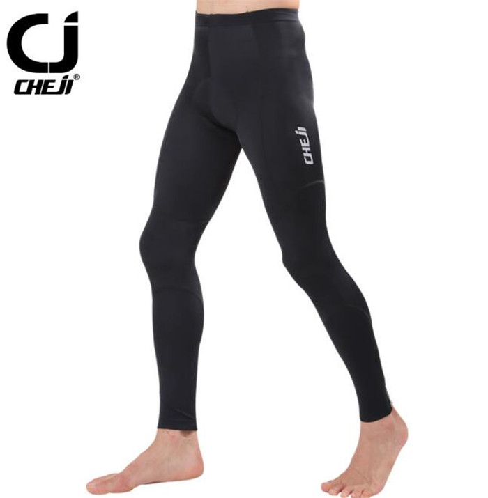 2017 CHEJI Mens Cycling Pants Bicycle Bike Tights Riding Long Reflective Trousers Breathable 3D GEL Padded Pants