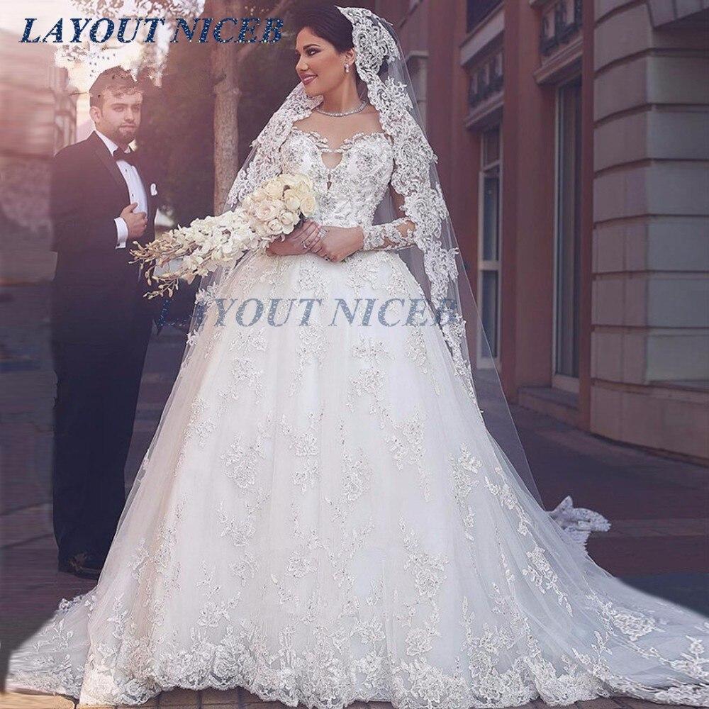 670765153fc Arabic Wedding Dresses Turkey Puffy Long Sleeve Wedding Gowns Lace Crystals Luxury  Lebanon Bride Dress 2019 Vestido de Noiva