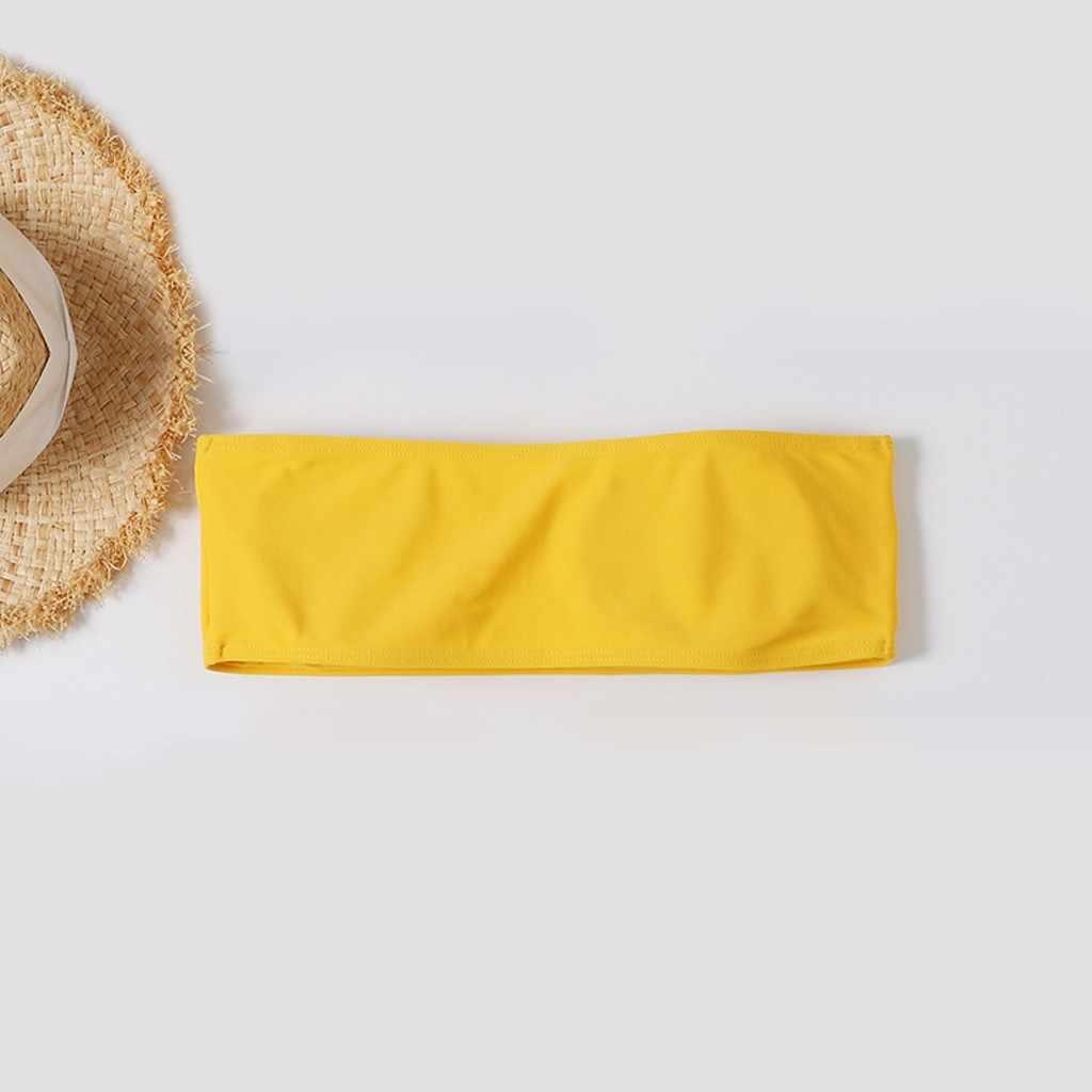 Top de biquíni sensual estampado de coco, roupa de banho com enchimento, moda praia, natação, 2020