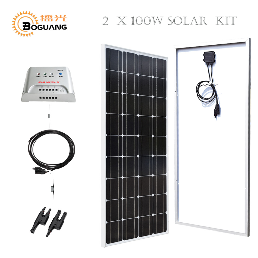 Boguang 2*100w Solar panel glass MPPT 20A controller MC4 adapter cable 200w solar kit system 12v battery home power charger boguang 20a 12v 24v solar controller mppt system kit solar panel battery light charger led display with dual usb 5v regulator