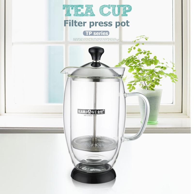 free shipping Kamjove Method pressure pot French presses tea pot heat resistant glass tea set flower