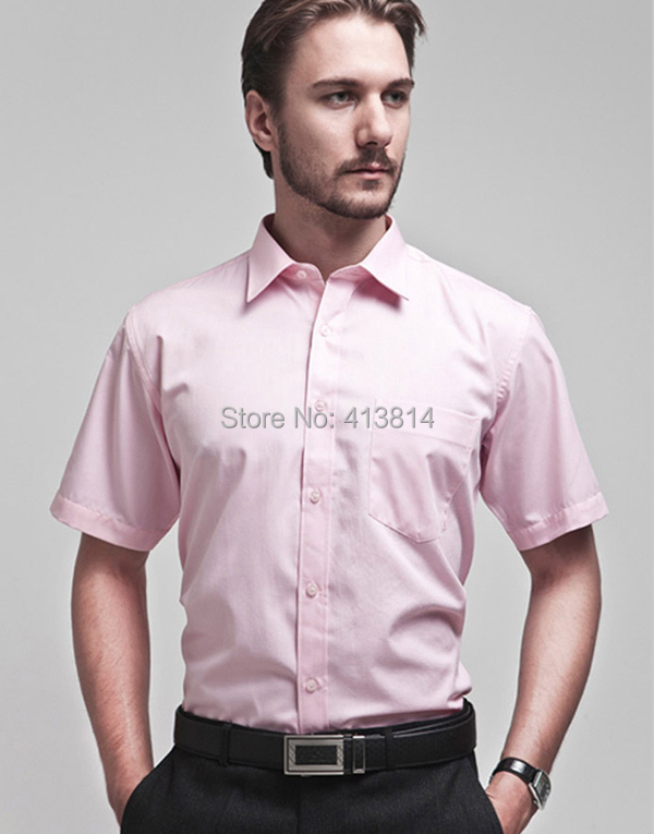 New Fashion Pink Men's Short Sleeve Dress Shirt Business Formal ...