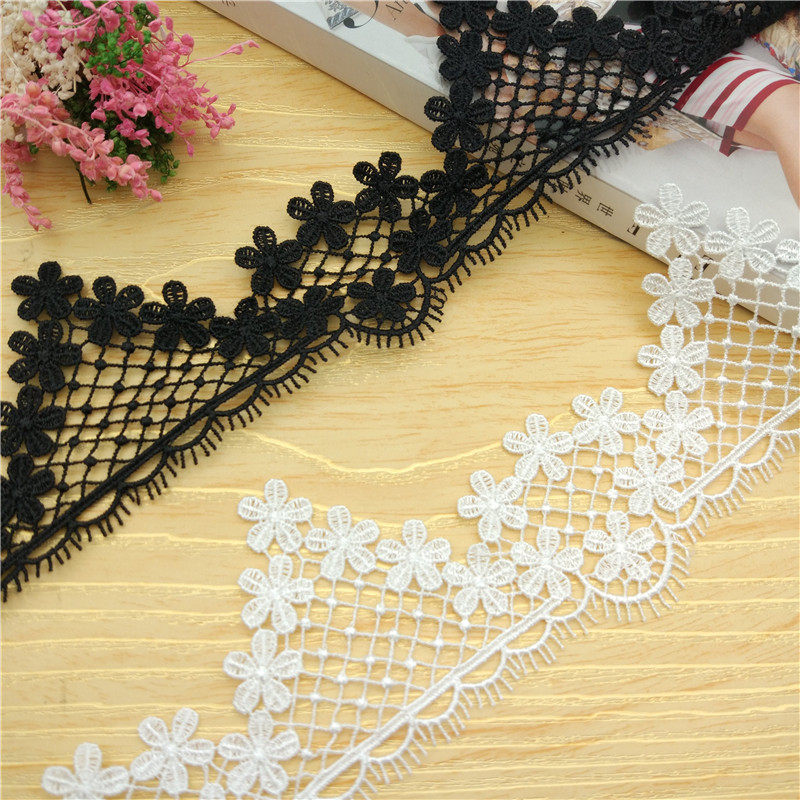 5yards/lot Black White 5.5cm Novelty Diy Lace Fabric..white Water Soluble Lace /clothing Materials Lace Accessories Rs802 Arts,crafts & Sewing Home & Garden