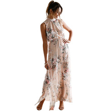 Ruiyige Women Floral Print Halter Chiffon Long Dress Sexy Backless Boho Party Summer Dresses Maxi Split Beach 2018 Vestidos