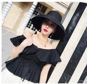 Image 3 - Audrey Hepburn stroh hut versunkenen modellierung werkzeug glocke förmigen großen krempe hut vintage hohe pretend bilität tourist strand atmosphäre