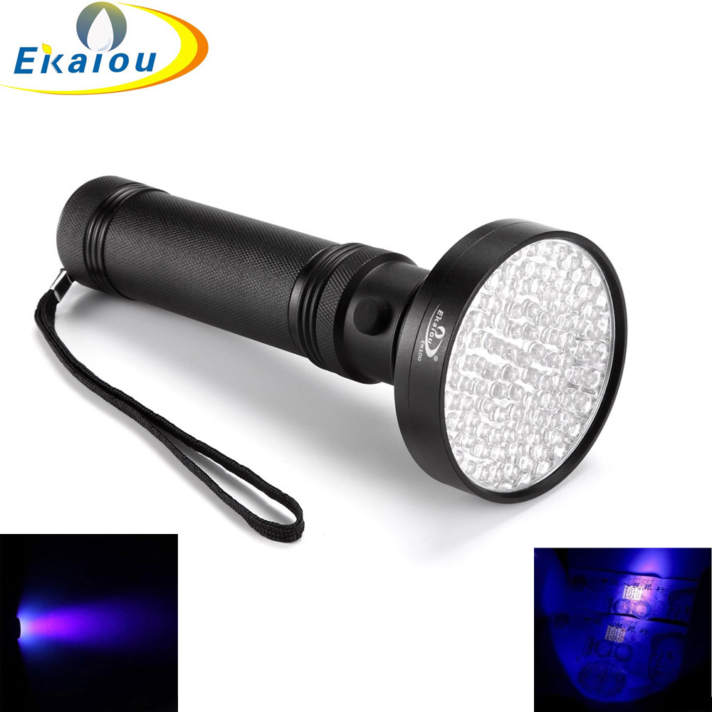 Super Bright 100LED Lumină UV 395-400nm LED UV Lanternă Torch Purple Lumină LED Lanternă Lumină portabilă Violet de detectare a luminii