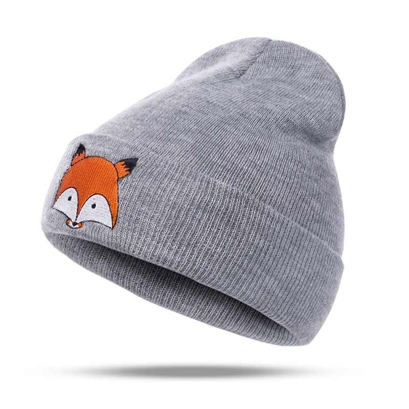 d2cb058fbf1c37 ... Comfortable Knitted Baby Autumn Winter Warm Hat Foldable Brim Beanie  Cap Embroidered Fox Durable Washable Skull