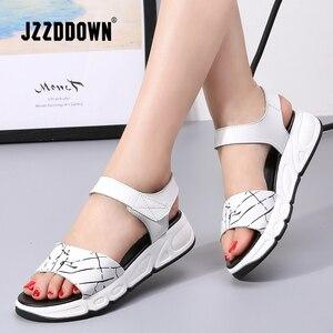 Image 1 - Women Platform sandals shoes Genuine Leather ladies white Flats Sneakers Sandals shoe 2018 summer open toe Fashion footwear