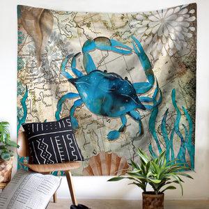 Image 3 - ים התיכון בעלי החיים בת ים שטיח מקרמה קיר תליית חוף מגבת יושב שמיכת חווה Boho בית דקור ראש המיטה