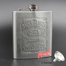 Portable Stainless Steel Flask 8oz hip Flask Drinkware Whiskey Bottle Shot gun flask with free funnel Free shipping