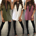 S-XXL Summer T Shirt Dress 2017 Women Deep V Neck Lace Up Sexy Bandage Party Dresses Casual T-Shirt Dress Vestidos