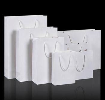 200pcs/lot White kraft paper bag with handle Wedding Party Favor Paper Gift Bags SN1715
