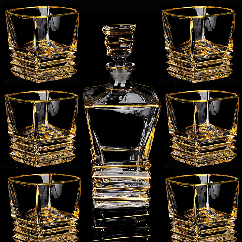 Image 5 - High quality crystal glass wine cup gold whiskey glass cup creative red wine glass brandy cup set barwarer Household drinkwareBar Sets   -