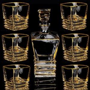 Image 5 - Kryształ wysokiej jakości szklany kieliszek do wina złoty kieliszek do whisky kubek kreatywny lampka do czerwonego wina brandy zestaw filiżanek barwarer agd drinkware