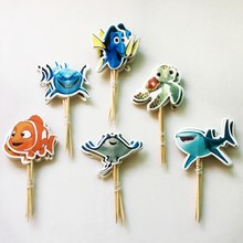 24pcs/lot Cute Cartoon Fish Seabed Whale Shark Octopus Cupcake Topper Picks Kids Baby Birthday Party Cake Decoration Supplies(China)