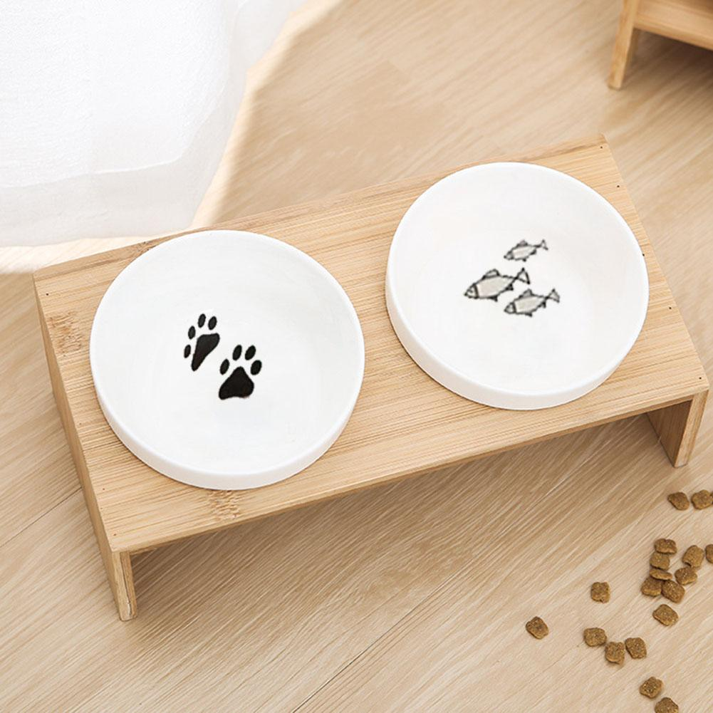 Peitten Pet Dog Bowl Cat Bowl Bamboo Wooden Frame Ceramic Two Bowls With Pet Food Table With Angle Heightening Design