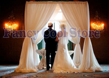 Ivory Wedding Canopy Curtain with Stand Pavilion Frame with Backdrop Curtain Churppah drapes 10ft x 10ft x 10ft