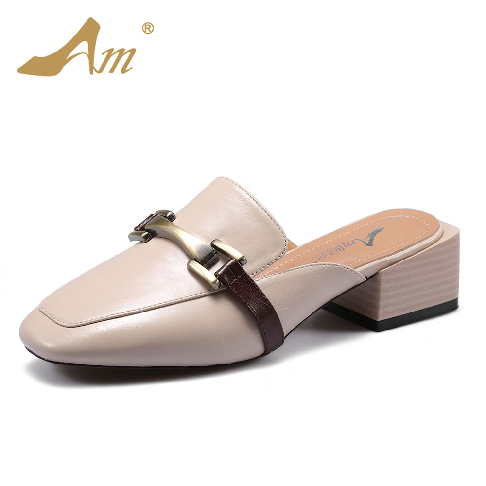 Ame 2017 women s mules slippers flats medium heels comfortable brand shoes for women slides retro