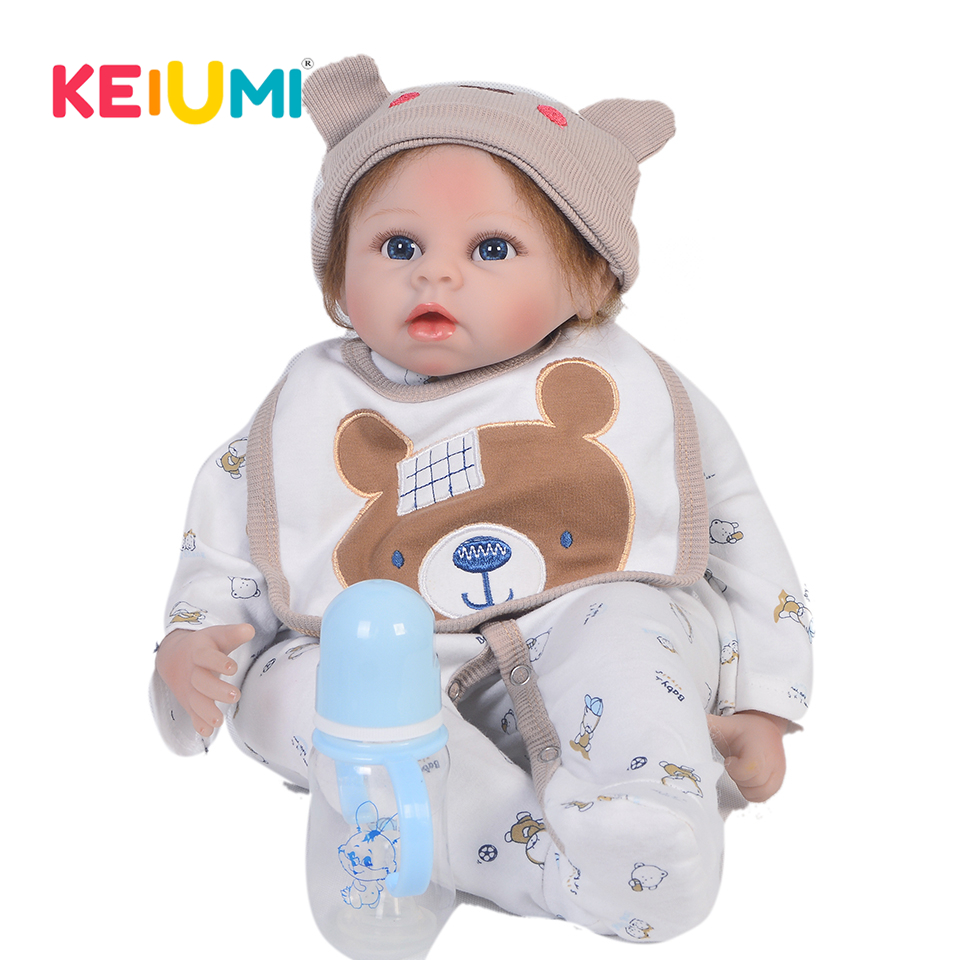 KEIUMI Rare 22 Inch Newborn Baby Doll Cloth Body Realistic Lovely Baby Doll Toy For Children's Day Kid Christmas Gifts keiumi real 22 inch newborn baby doll cloth body realistic lovely baby doll toy for children s day kid christmas xmas gifts