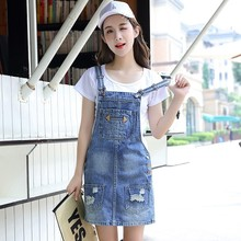 Summer Denim Jeans Dress Women Slim Casual Ripped Holes Sleeveless Jeans Denim Dress 2018 New Fashion Dresses Vestidos