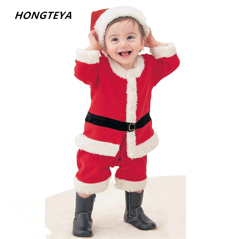 Christmas baby romper newborn boys and girls Festival Costume bebe fleece lining romper + hat suit infant New Year clothes puseky 2017 infant romper baby boys girls jumpsuit newborn bebe clothing hooded toddler baby clothes cute panda romper costumes
