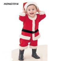 De noël barboteuse de bébé nouveau-né garçons et filles Festival Costume bebe polaire doublure barboteuse + chapeau costume infantile Nouvel An vêtements