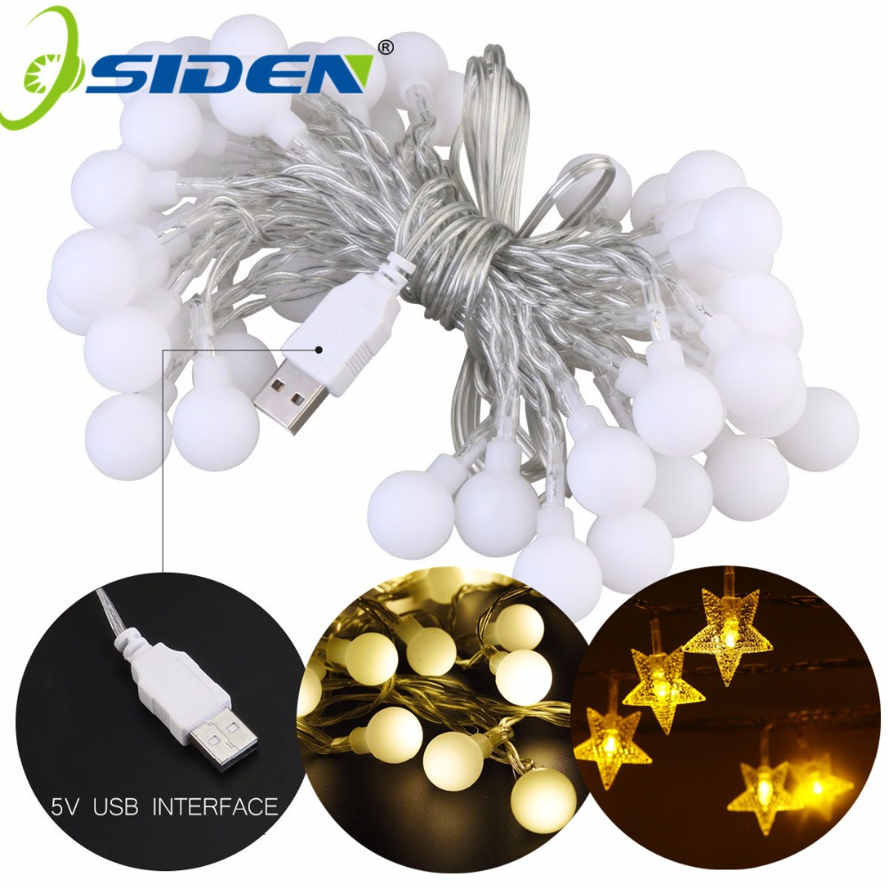 OSIDEN Ball String Lights Star USB 5V 10M 60LED Holiday Lighting Outdoor Waterproof For Party Wedding Christmas Garden