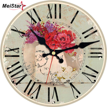 MEISTAR 6 Pattern Flower Vase Design Wooden Large Clocks Silent Home Office Watches Decor For Kitchen Room Round Cool Wall Clock