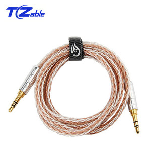 Image 1 - 3.5 mm Jack Audio Cable Male to Male Aux Cable Gold Plated 3.5mm Plug Pure Copper Silver Plated Wire 0.5M 1.2M HIFI Speaker Line