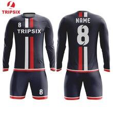 5d07555c3 No Logo No Name Blank Long Sleeve Club Football Soccer Jersey(China)