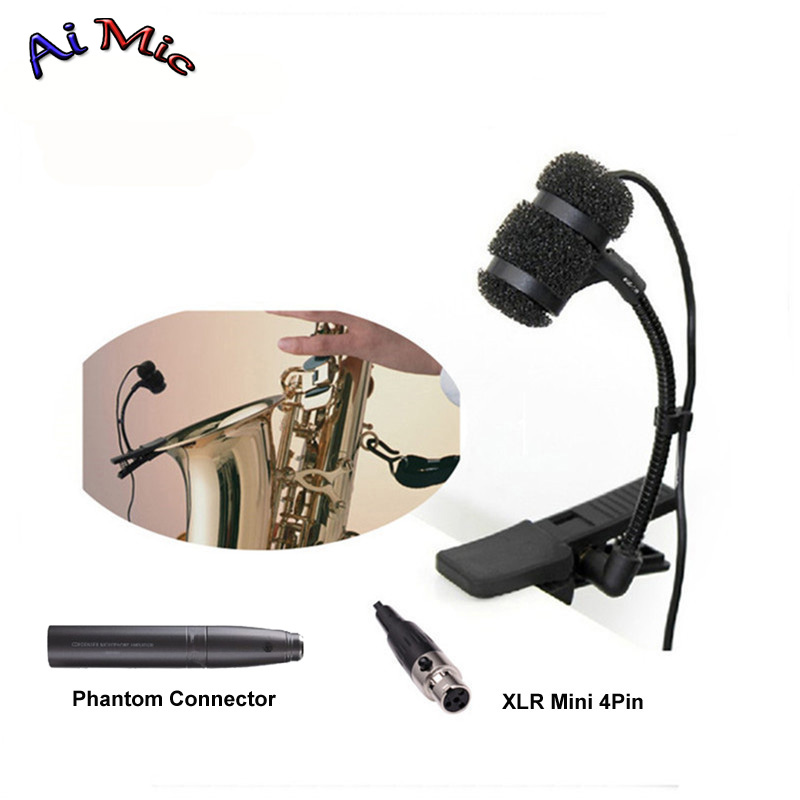 Gooseneck Instrument Microphone Music Saxophone Transmitter Microfone with Mini XLR 4pin for Shure Wireless System Mic shure pga98h xlr