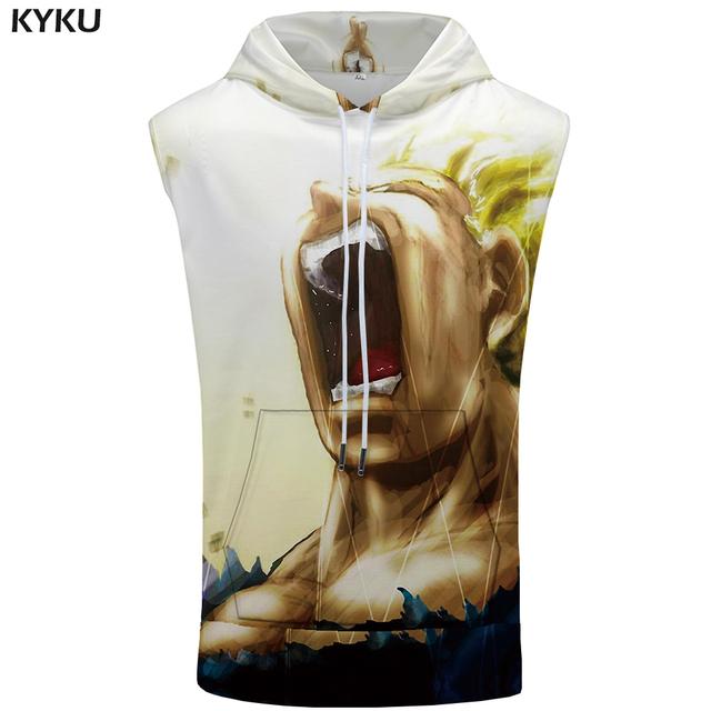 KYKU Brand Dragon Ball Sleeveless Hoodie Goku Vest Dragon Coat Anime Sweatshirt 3D Stringer Shirts Mens Clothing Muscle Anime