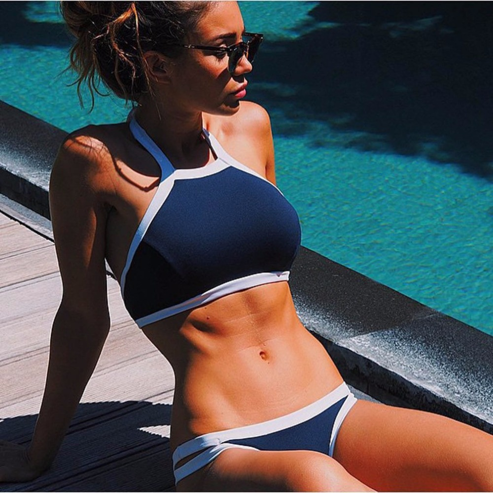 Padded Sexy Women Bikini Set Push Up Swimwear Female Swimsuit Bathing Two-Piece Suit Blue Summer Stylish Beachwear Free Shipping glane brief 2017 new sexy top womens summer two piece push up padded bra bandage bikini set swimsuit triangle swimwear bathing
