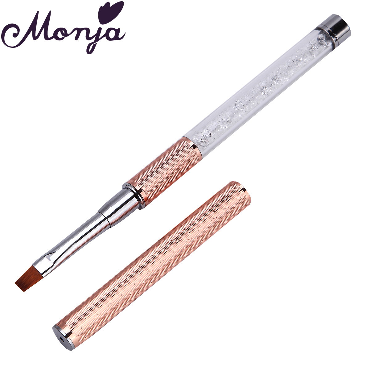 Monja Nail Art Brush Made Of Acrylic Rhinestone Handle Material For Nail Liner Brush Tool 7