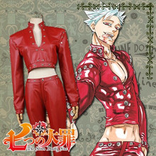 Anime The Seven Deadly Sins cosplay Fox's Sin of Greed cos Ban red top+pants costume PU Unisex