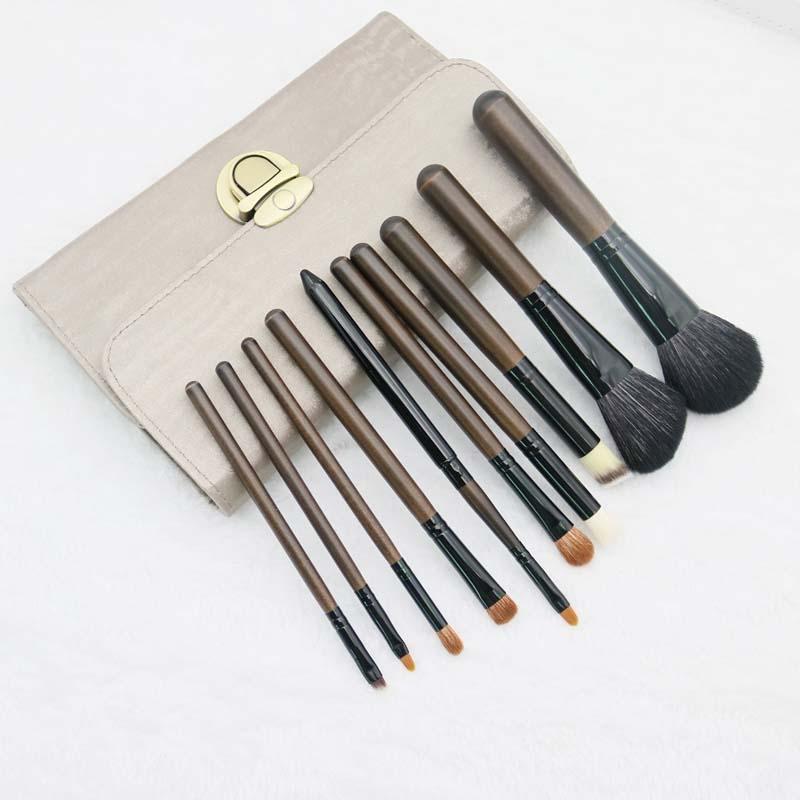 Ensembles de brosses en laine 10 pinceau rose poudré pour outils de maquillage