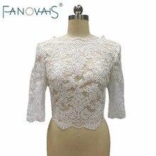 White Ivory Half Sleeves Lace Wedding Bolero Buttons Back Wedding Accessories Custom made Bridal Jacket Lace Wedding Boleros