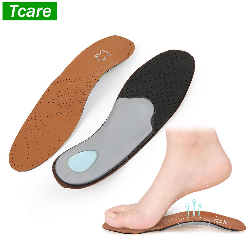 1Pair Leather Orthotics Insole for Flat Foot Arch Support 25mm orthopedic Silicone Insoles for men & women Shoes Insoles
