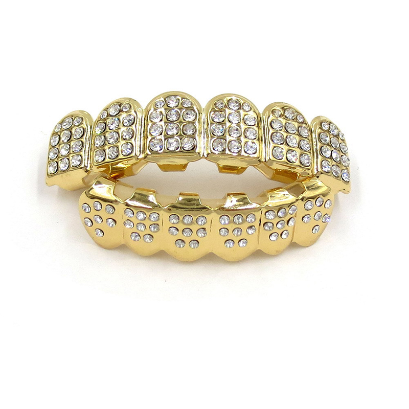 Hip Hop Custom Fit Gold Color Teeth Four Hollow Open Face Gold Mouth Caps Top & Bottom Grill Set Party Gift #232055 цены