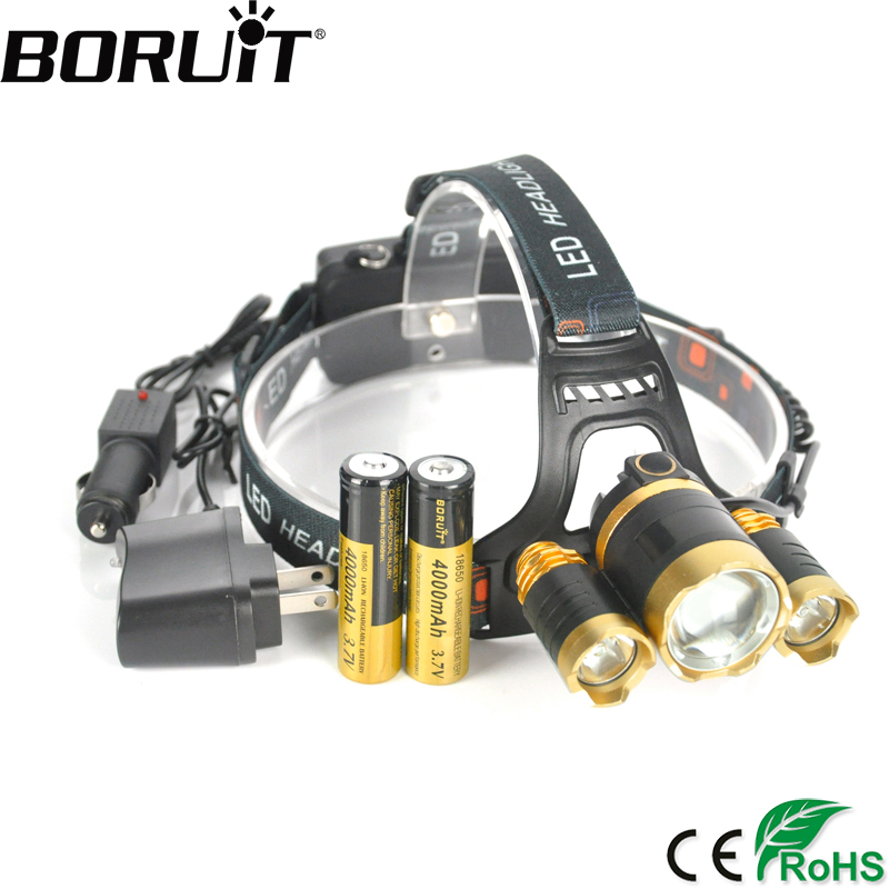 BORUiT 10000LM XML T6 R2 LED Headlamp Rechargeable Zoom Headlight Hunting Camping Head Torch by 18650 Battery Flashlight