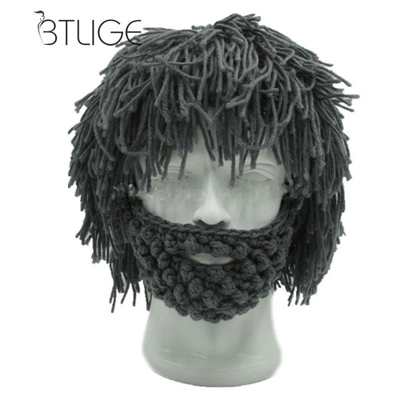 8d7af85277f BTLIGE Wig Beard Hats Hobo Mad Scientist Caveman Handmade Knit Warm Winter  Caps Men Women Halloween Gifts Funny Party Beanies