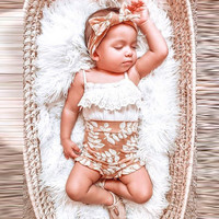 MUQGEW Infant Baby Girls Strap Lace Tops Floral PP Shorts Hair Band Outfits Sets Summer 3PC Newborn Baby Girls Lace Clothing Set