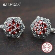 100% Real Pure 925 Joyas de Plata Pendientes con Piedra Granate Pendientes Elegante y Romántico para Las Mujeres Bijoux SLS30175