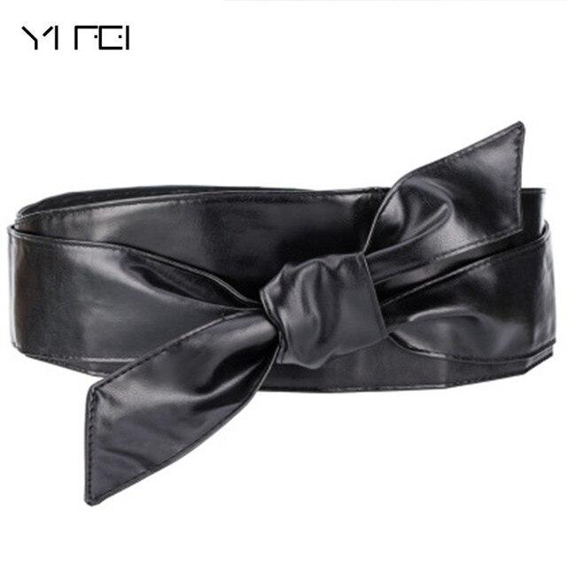 YIFEI 2018 New Black PU Leather Retro Design Comfortable Elastic Belts Women Ultra Wide Adjustable Slim Body Corset Belt