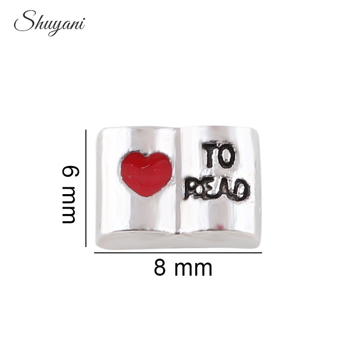 Silver Plated Love to Read Cute Book Charm Pendant For Crystal Round Living Floating Locket